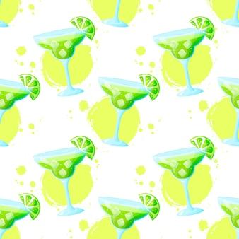 Nahtloses muster mit margarita-cocktail