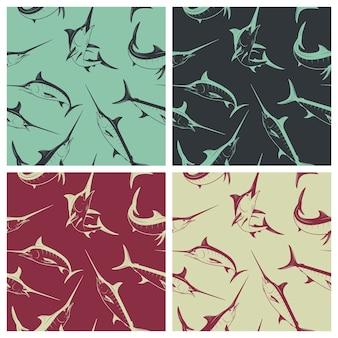 Nahtloses muster mit marlins illustration