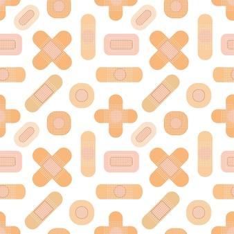 Nahtloses muster mit medizinischen pflastern. medizinisches patchmuster. flache abbildung.