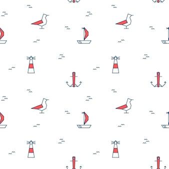 Nahtloses muster mit meereselementen. nautische illustrationen einer möwe, eines segelboots, eines leuchtturms und eines ankers auf weißem hintergrund. vektor-illustration