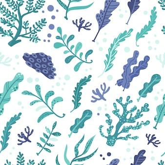 Nahtloses muster mit meerespflanzen