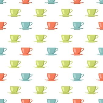 Nahtloses muster mit mehrfarbigen tassen