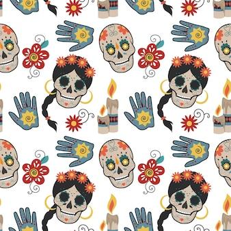 Nahtloses muster mit mexikanischen schädeln und ethnischen attributen.