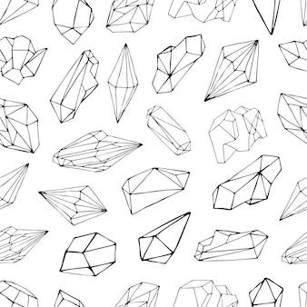 Nahtloses muster mit mineralien, kristallen, edelsteinen. hand gezeichneter konturhintergrund.