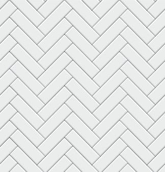 Nahtloses muster mit modernen rechteckigen weißen fliesen mit fischgrätenmuster. realistische diagonale textur. illustration.
