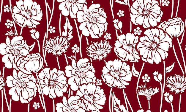 Nahtloses muster mit mohnblumen und kornblume. design von schönem sommerlichen textildruck