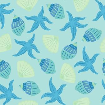 Nahtloses muster mit muscheln und seesternen. blau- und türkistöne. schönes sommermuster.