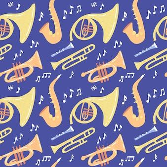Nahtloses muster mit musikinstrumenten des winds