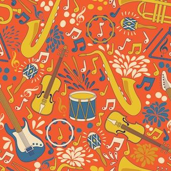 Nahtloses muster mit musikinstrumenten. illustration. abstrakter musikhintergrund