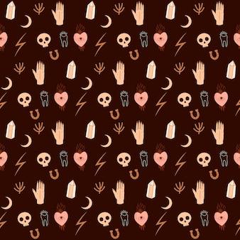Nahtloses muster mit mystischen gekritzelelementen. schädel, kristall, hufeisen, herz, menschliche hand.