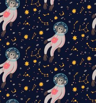 Nahtloses muster mit nettem affen im raum. affe im kosmos, umgeben von sternen.