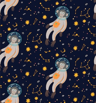 Nahtloses muster mit nettem affen im raum. vektorillustration der lustigen kinder. affe im kosmos, umgeben von sternen.