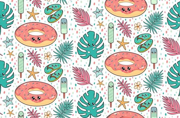 Nahtloses muster mit nettem poolflossdonut, schiefern, eiscreme und tropischen blättern in japan-kawaii art. glückliche zeichentrickfilm-figuren mit lustiger gesichtsillustration.