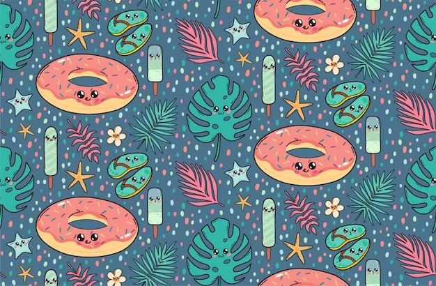 Nahtloses muster mit nettem poolflossdonut, schiefern, eiscreme und tropischen blättern in japan-kawaii art