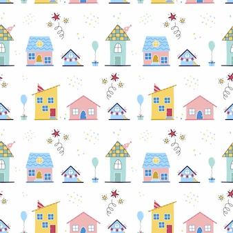 Nahtloses muster mit netten häusern. festlicher hintergrund für geschenkpapier zum geburtstag. kindertapete im doodle-stil zum bedrucken von stoffen.