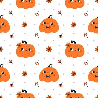 Nahtloses muster mit netten halloween-kürbissen auf festlichem hintergrund des weißen hintergrundherbstes