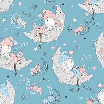 Nahtloses muster mit netten kindern in den pyjamas, die auf den mondmonaten schlafen.