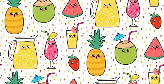Nahtloses muster mit netten limonaden, erdbeeren, wassermelonen und cocktails in japan-kawaii art. glückliche zeichentrickfilm-figuren mit lustiger gesichtsillustration.