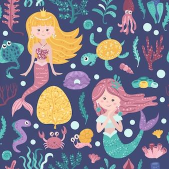 Nahtloses muster mit netten meerjungfrauen, meerespflanze und fischen