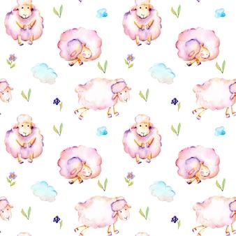 Nahtloses muster mit netten rosa schafen des aquarells