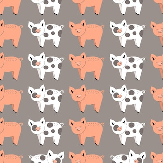Nahtloses muster mit netten schweinen. hintergrund mit nutztieren. tapete, verpackung. flache vektorillustration