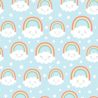 Nahtloses muster mit netten wolken, regenbogen und sternen.