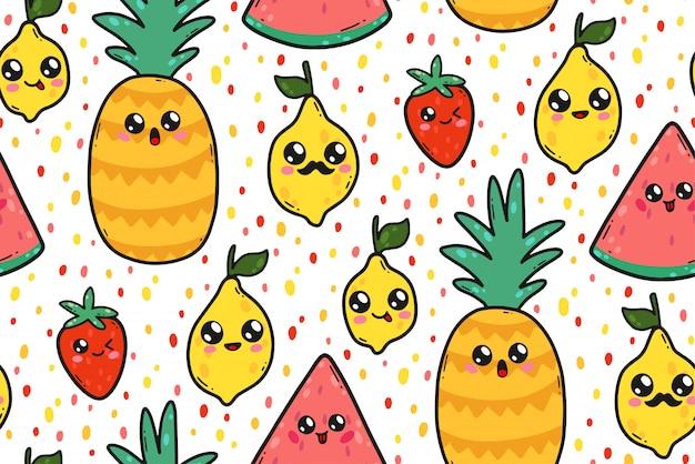 Nahtloses muster mit netten zitronen, wassermelonen und erdbeeren in japan-kawaii art. glückliche karikaturfruchtcharaktere mit lustiger gesichtsillustration.
