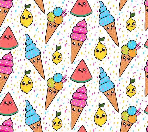 Nahtloses muster mit netter eiscreme, zitronen und wassermelonen in japan-kawaii art. glückliche zeichentrickfilm-figuren mit lustiger gesichtsillustration.
