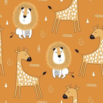 Nahtloses muster mit netter giraffe und löwe