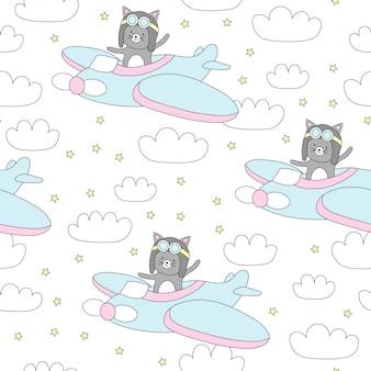 Nahtloses muster mit netter katze fliegt in ein flugzeug.