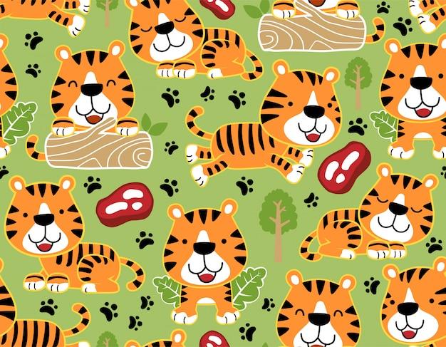 Nahtloses muster mit netter tigerkarikatur