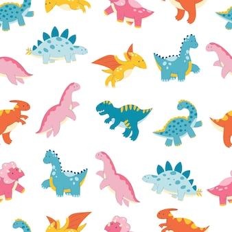 Nahtloses muster mit niedlichem cartoon-dinosaurier-dinosaurier-reptilien-drachen-monster flaches muster
