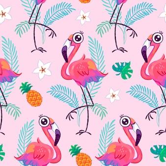 Nahtloses muster mit niedlichem flamingo und tropischen blättern Premium Vektoren