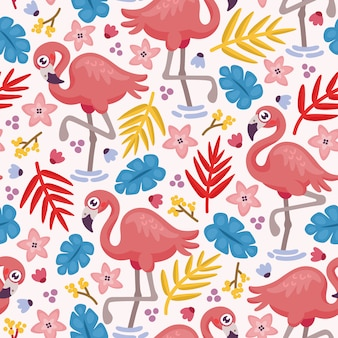 Nahtloses muster mit niedlichem flamingo und tropischen blättern
