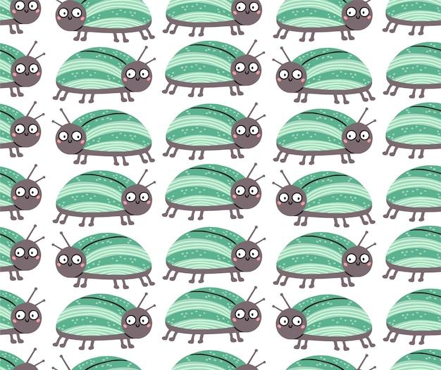 Nahtloses muster mit niedlichem käfer mit lustigen überraschten augen.