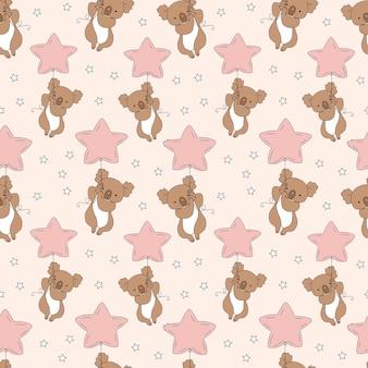Nahtloses muster mit niedlichem koala und ballon childish für stoff, textil, bekleidung, kinderzimmerdekoration.