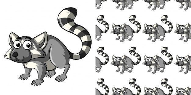 Nahtloses muster mit niedlichem lemur
