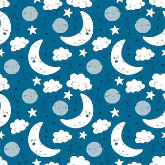 Nahtloses muster mit niedlichem mond, sternen und wolken. kinderhintergrund. illustration