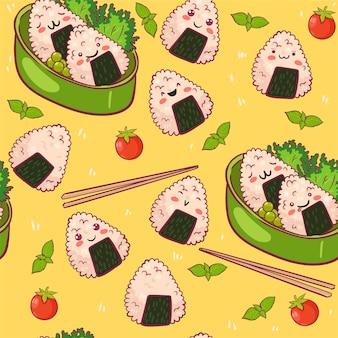Nahtloses muster mit niedlichem onigiri.