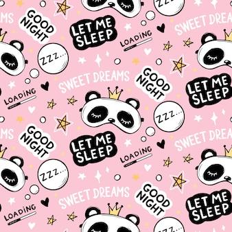 Nahtloses muster mit niedlichem pandabären in kronenschlafmasken, guten nachtbeschriftungszitat, sternen und süßer traumphrase. cartoon tiere hintergrund, textur.