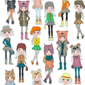 Nahtloses muster mit niedlichem schönem modischem hipster-mädchen in den lustigen hüten mit maulkorbkatze, panda und eule, jacken und röcken mit taschen.