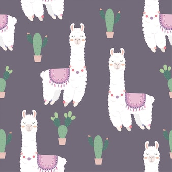 Nahtloses muster mit niedlichen alpakas und kaktus.