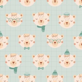 Nahtloses muster mit niedlichen bären mit brille, hut, fliege. hintergrund ist blau, geometrisch im flachen stil. illustration für kinder mit tapeten, stoff, textilien, geschenkpapierdesign. vektor