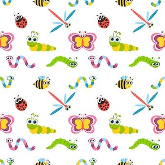 Nahtloses muster mit niedlichen bunten insekten