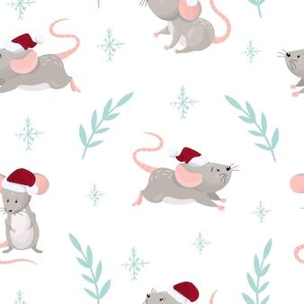 Nahtloses muster mit niedlichen cartoon-mäusen in einem roten weihnachtshut.