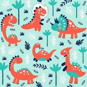 Nahtloses muster mit niedlichen dinosauriern für kinder drucken.