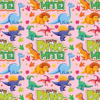 Nahtloses muster mit niedlichen dinosauriern und schrift auf rosa hintergrund
