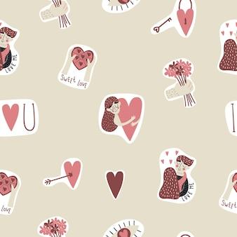 Nahtloses muster mit niedlichen elementen, herzen, süßigkeiten, mädchen mit herz, blumen, auge. valentinstag