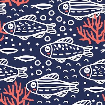 Nahtloses muster mit niedlichen fischen