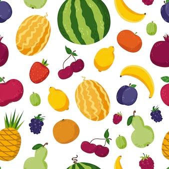 Nahtloses muster mit niedlichen früchten